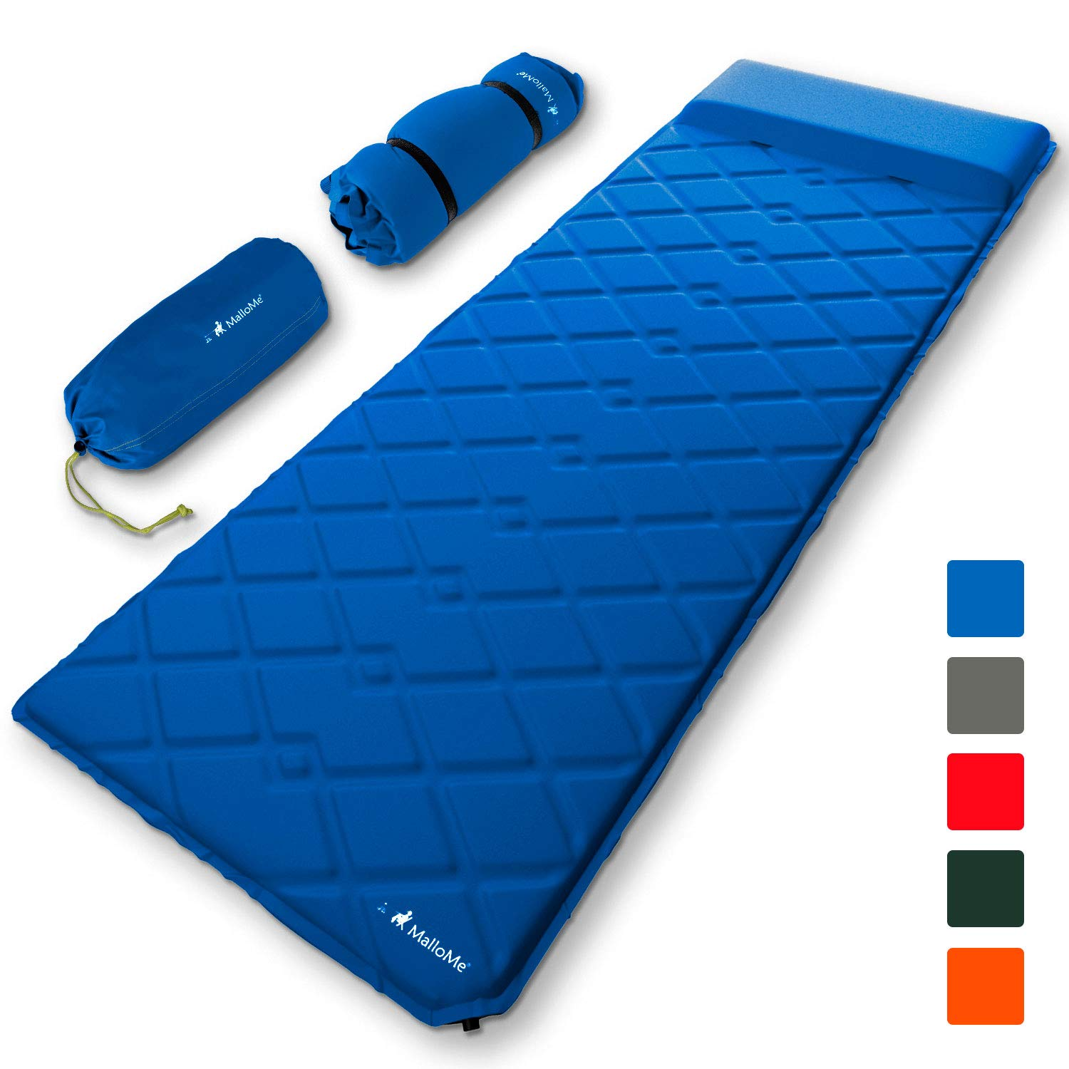 MalloMe Sleeping Pad Camping Air Mattress - Self Inflating Mat Bed for Backpacking Adults - Inflatable Ultralight Insulated Soft Foam Sleep Gear - Lightweight Travel Cot Roll Mats Accessories Blue by MalloMe