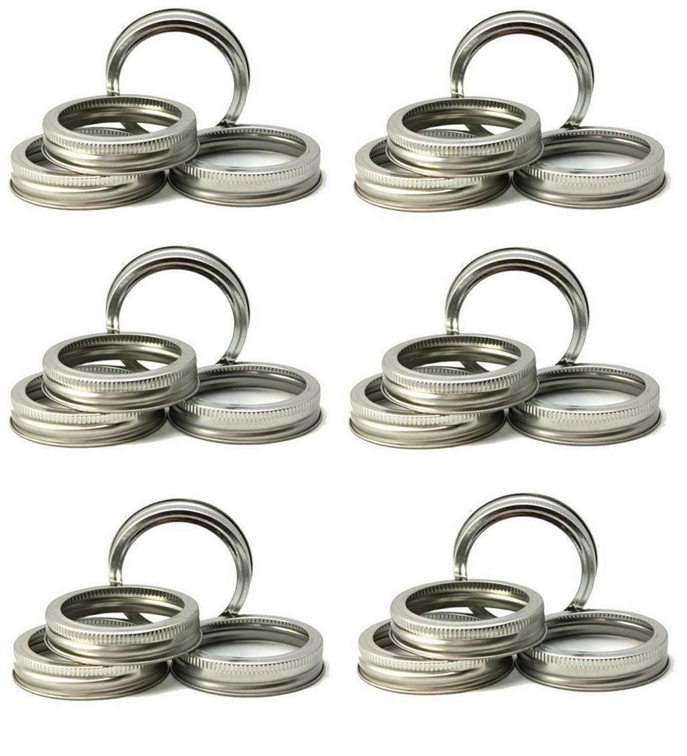 Mason Jar Replacement Rings or Tops Durable & Rustproof Tinplate Metal Bands/Rings for Mason Jar, Ball Jar, Canning Jars,Storage (Set of 24 Regular Mouth)