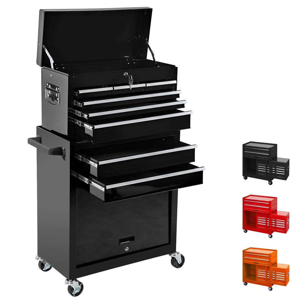 Tool Box Removable Tool Chest Top & Bottom 2 in 1 Rolling Tool Box Top Tray with Locking System Tool Storage Cabinet Portable Tool Organizer(Black) by I-Choice