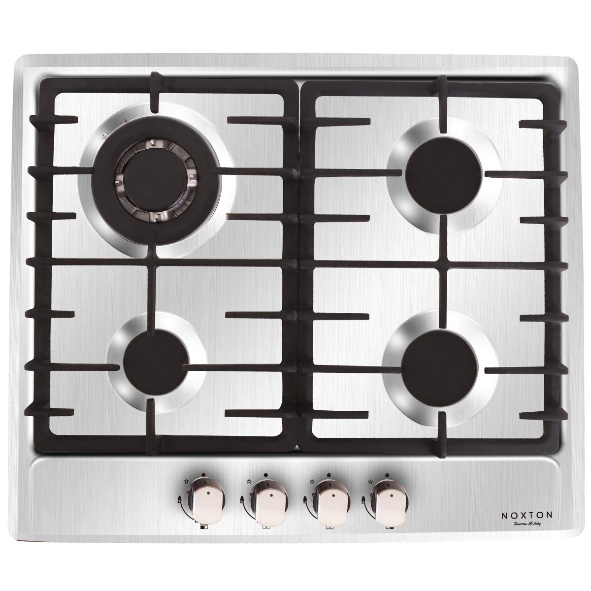 NOXTON Built-in 60cm Gas Cooking Hob 4 Burner in Stainless Steel FFD for LPG & Natural Gas PF640STX-1