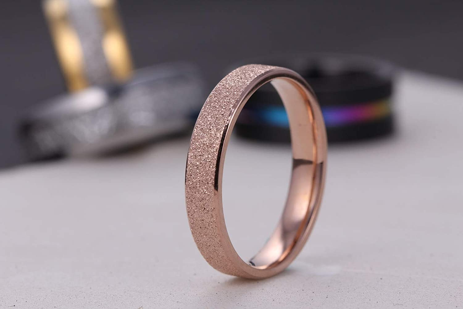 01af3266578 Amazon.com  LOVE Beauties 4mm Women s Titanium Rose Gold Wedding Band Ring   Jewelry