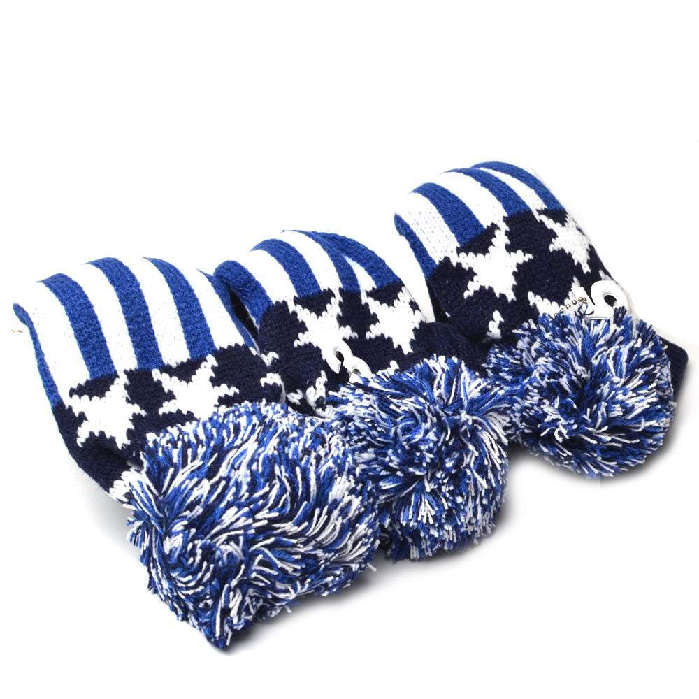 GOOACTION Drivers, Fairway Woods, Hybrids 3pcs American Flag Pom Pom Sock Set Vintange Knit Universal Golf Head Covers Fit for All Golf Brands by GOOACTION