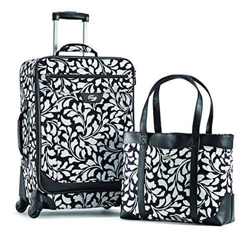 american-tourister-color-your-world-2-two-piece-set-shopper-spinner-21-black-white-floral-print-one-