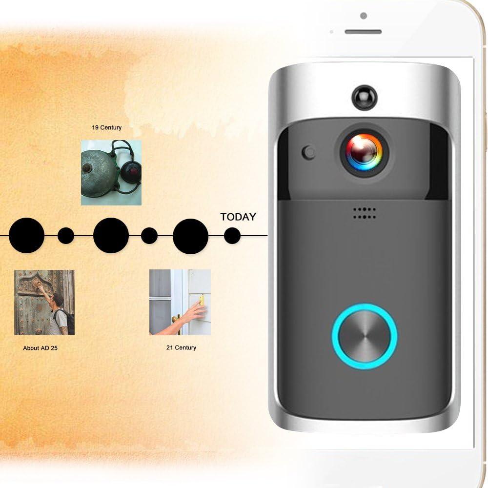 Extaum Inteligente HD 720P Intercomunicador de Video inal/ámbrico WI-FI Video Door Phone Visual Door Bell WiFi Timbre de la c/ámara para Apartamentos Alarma IR C/ámara de Seguridad inal/ámbrica Plata