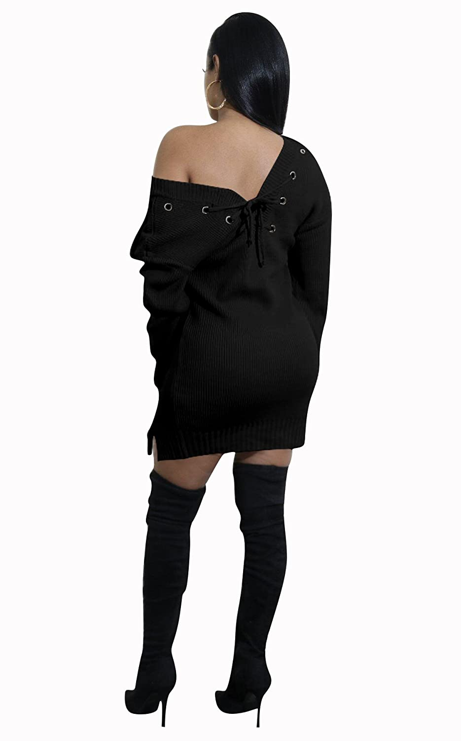 38f96d405fc Felicity Young Women s Long Sleeve V Neck Slim Fit Basic Knitted Sweater  Bodycon Mini Dress at Amazon Women s Clothing store