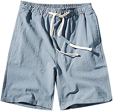 Men/'s Summer Cotton Linen Elastic Waist Shorts Pants Beach Trousers Plus Size
