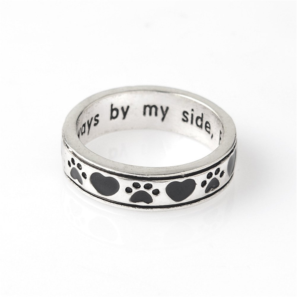 GIONO Always by my side Forever in my heart Pet Paw Prints Engraving Rhinestones Ring PQH PQH-053
