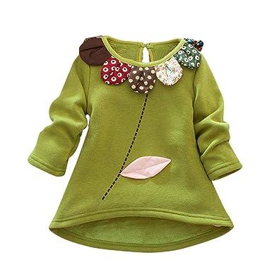 Bebé niña niño manga larga camiseta tops en franela bordada ...
