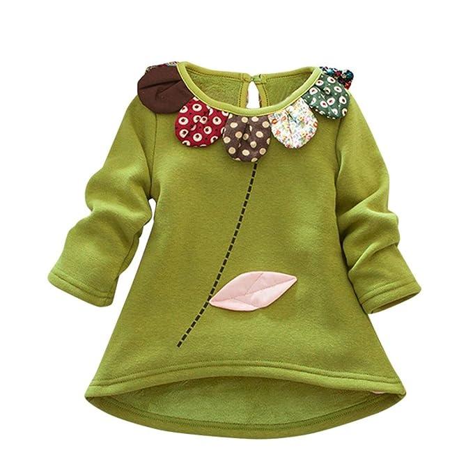 Bebé niña niño manga larga camiseta tops en franela bordada ,Yannerr primavera Pétalos cuello blusa