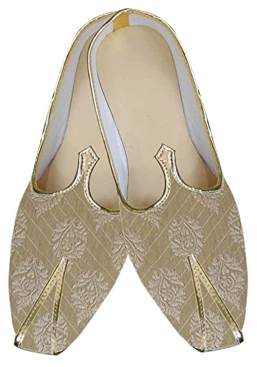 Mens Golden Brocade Wedding Shoes Ethnic MJ0064