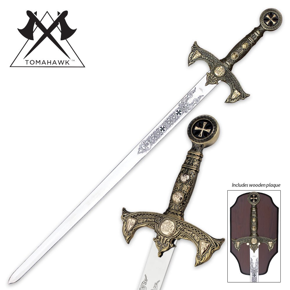 Knights Templar Long Sword and Wall Plaque by Tomahawk