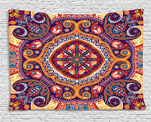 Ambesonne Paisley Tapestry, Arabic Style Ornamental Rug Pattern Inspired Design with Flowers and Leaves, Wall Hanging for Bedroom Living Room Dorm, 80 W X 60 L Inches, Pale Orange