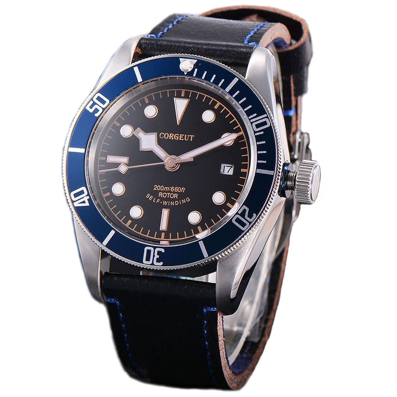 41 MM Corgeut Automatik Saphirglas Uhr fÜr Herren blau Aluminium LÜnette
