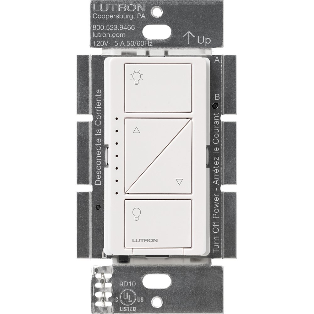 Lutron Caseta Smart Home Dimmer Switch, Works with Alexa, Apple HomeKit, and the Google Assistant | for LED Light Bulbs, Incandescent Bulbs and Halogen Bulbs | PD-6WCL-WH | White by Lutron