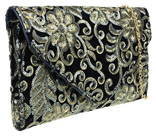 Sequins Clutch Navy Girly Bag HandBags Girly HandBags Flowers qwIW0X04