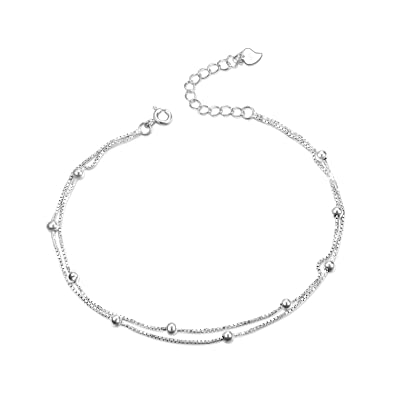 Jewelry & Watches Buy Cheap S925 Sterling Silver Double Heart Anklets For Women Adjustable Foot Ankle Bracel 100% Original