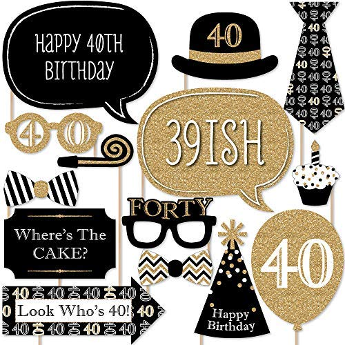 Big Dot of Happiness Adult 40th Birthday - Gold - Birthday Party Photo Booth Props Kit - 20 Count ()