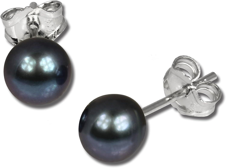 Ohrringe für Damen 6,5mm Ohrstecker 925 Sterling Silber Perle grau SDO107K