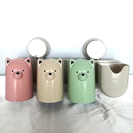 Soporte para cepillos de dientes Set con 3 cute Pig vasos + 1 taza, Set