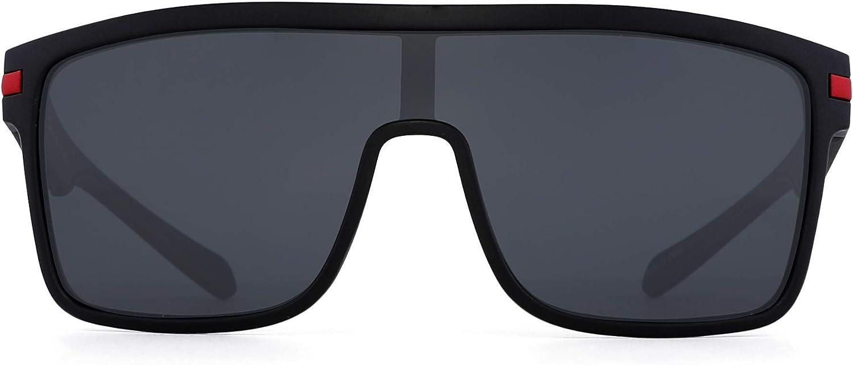 JIM HALO Gafas de sol polarizadas con escudo de gran tamaño Gafas cuadradas con parte superior plana para hombres