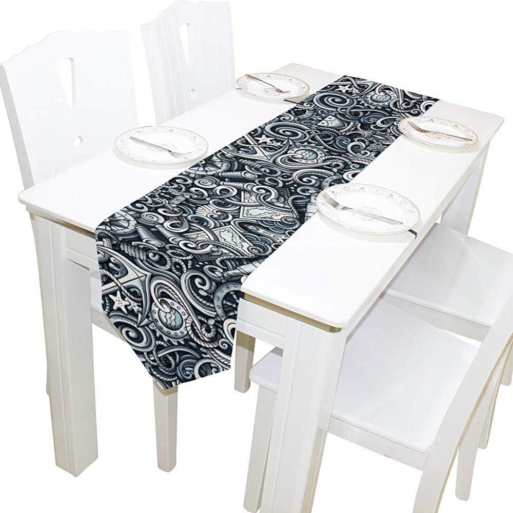 Tedtte Camino de Mesa Monocromo Detallado Náutico Marino Anclas de 33 x 229 cm de Largo para Fiesta de Bodas Cocina de Vacaciones Comedor Decoración para el hogar