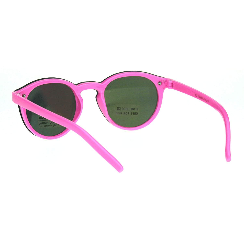 Kids Size Unisex Round Keyhole Thin Horn Rim Hipster Sunglasses ...