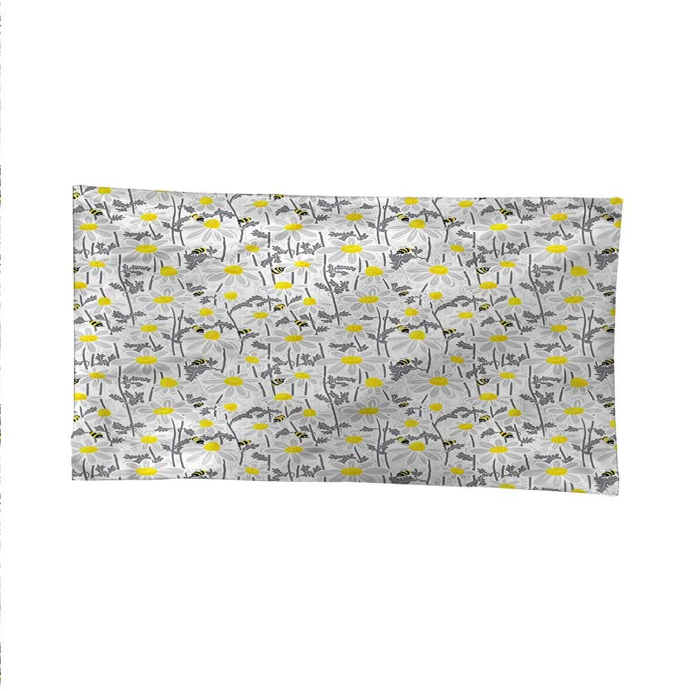 Yellowtapestrywall tapestryBees Chamomile Meadow 84W x 70L Inch