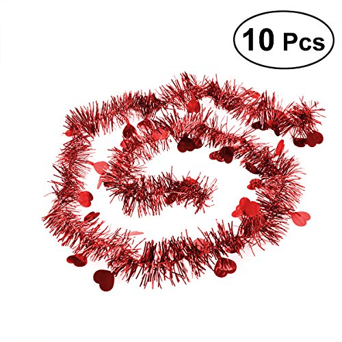 BESTOYARD 10Pcs Festooning Garland Metallic Sparkling Festival Hanging Decoration for Wedding Christmas (Red)