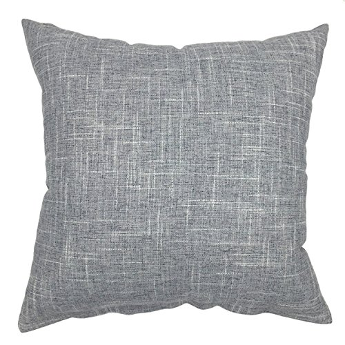 YOUR SMILE Pure Grey Square Decorative Throw Pillows Case Cushion Covers Shell Cotton Linen Blend 18 X 18 Inches