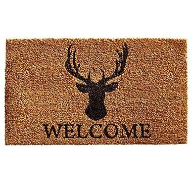 Home & More 121472436 Deer Welcome Doormat, 24  x 36  x 0.60 , Natural/Black