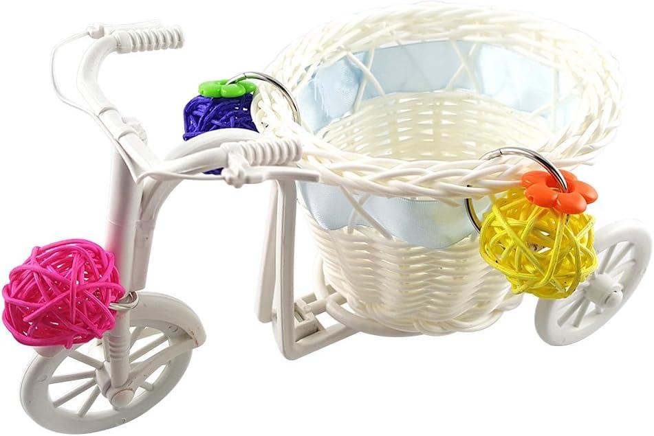 Jiacheng29 Mini Carrito de Bicicleta Carrito de la Compra Pájaro Loro Juguete Mascota Inteligente Crecimiento de Ratán Bola – Color al Azar