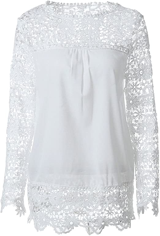 BESTOYARD Camisa de Gasa de Encaje Bordado de Manga Pura de la Mujer Blusa de Moda Top Size 6XL (Blanco): Amazon.es: Hogar