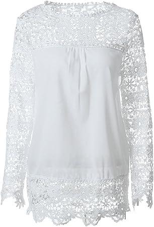 BESTOYARD Due-Home Blusa Moda Blusa de Gasa Crochet Bordado A Mano Pura Blusa Top Size 6 X L (Blanco): Amazon.es: Hogar