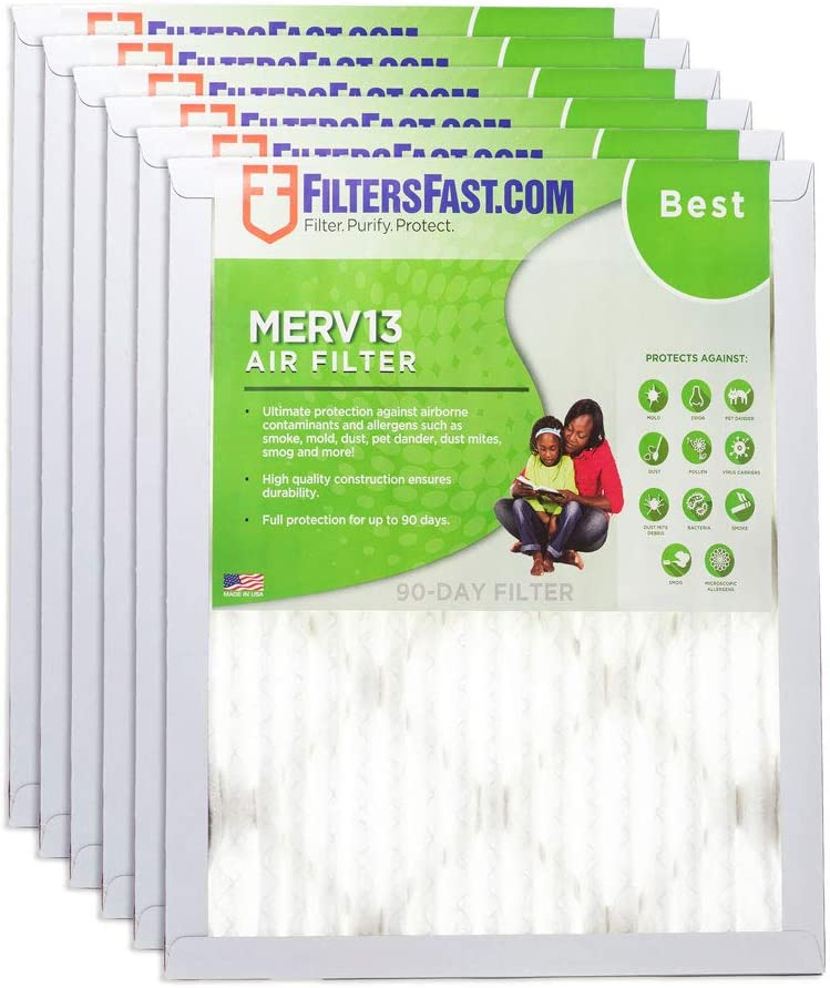 Filters Fast 12x36x1 Pleated Air Filter (6 Pack), Merv 13 | 1
