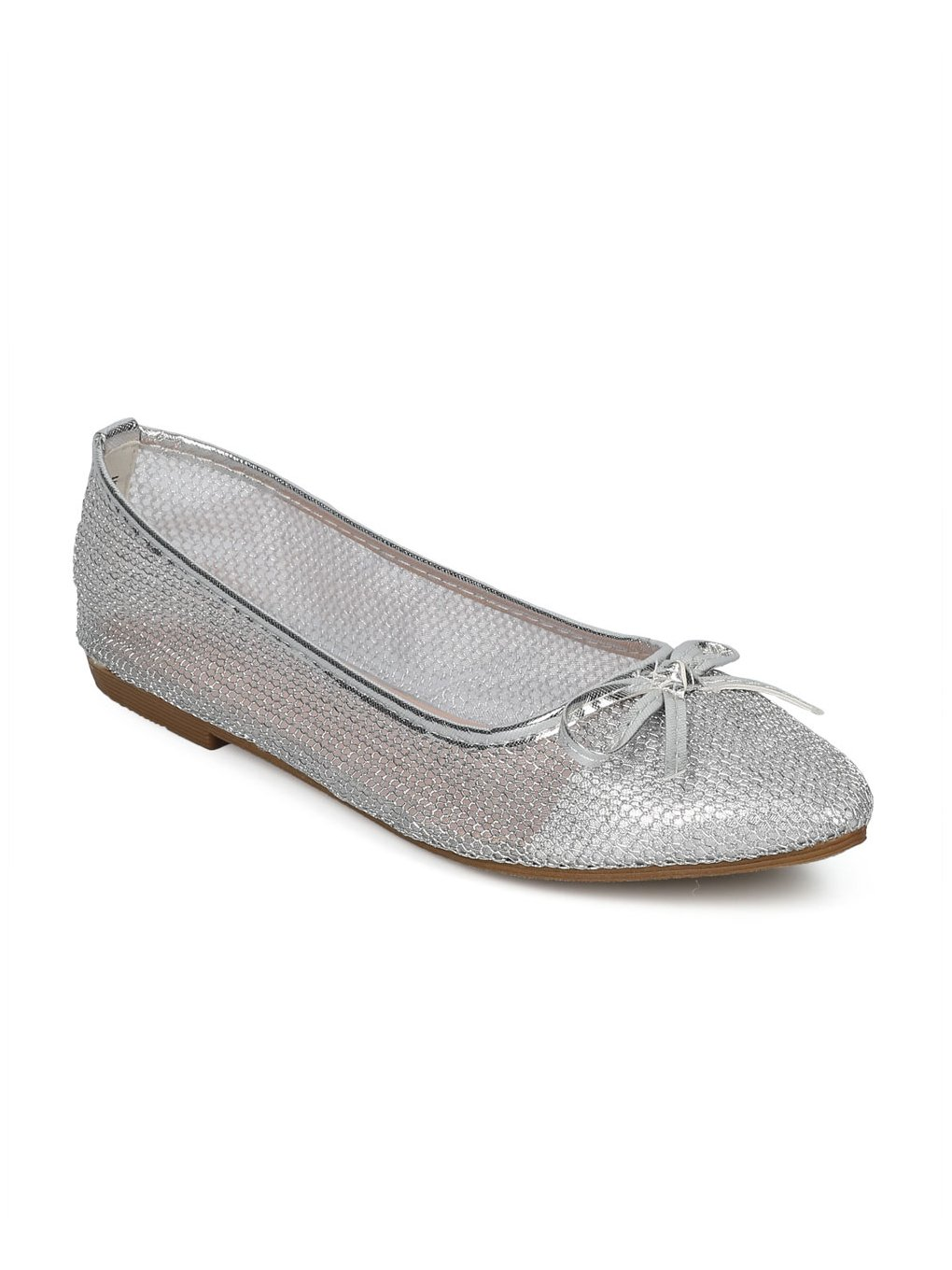 Indulge Dew-1-A Women Mesh Capped Toe Bow Tie Ballet Flat HE04 - Silver Mix Media (Size: 9.0)