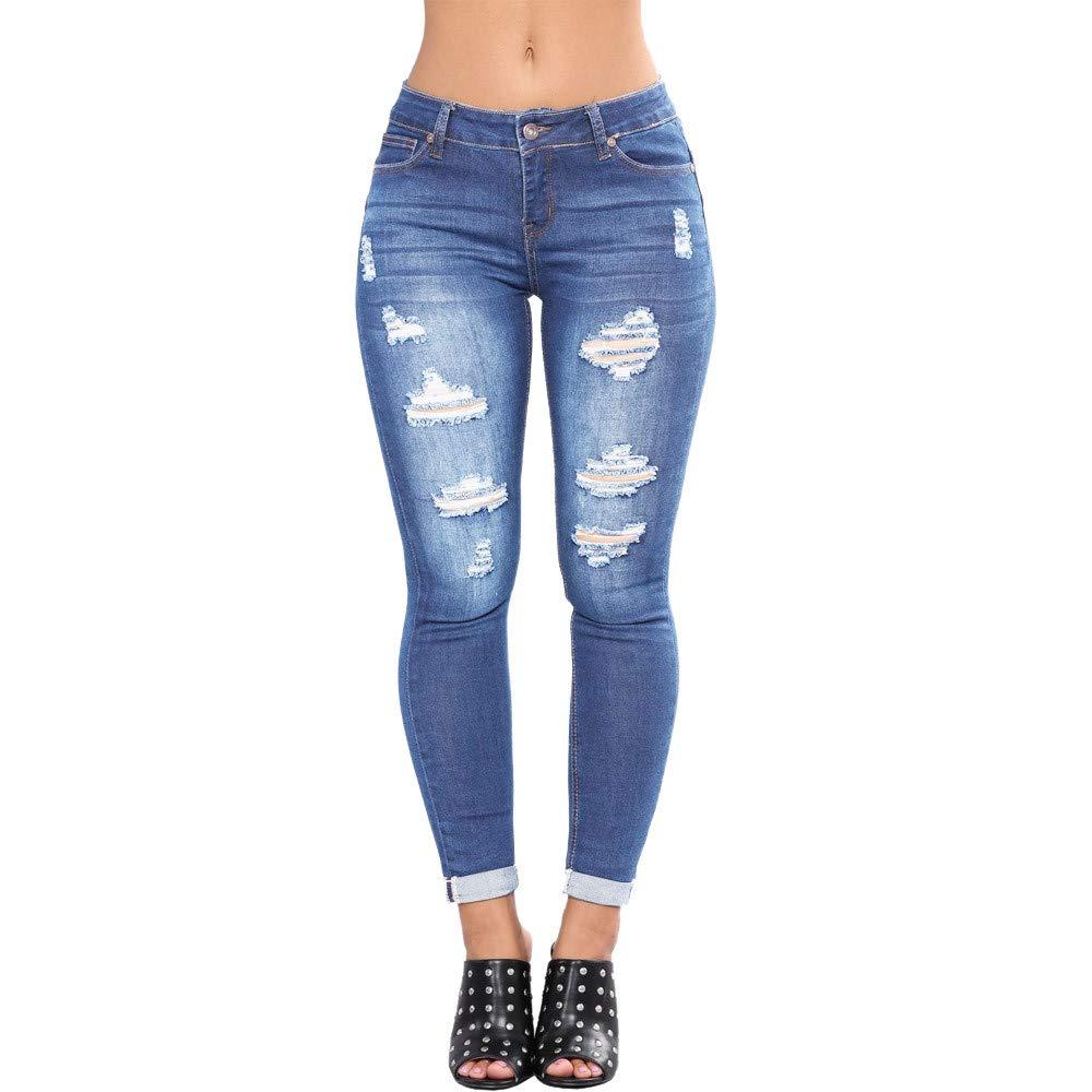 conqueror Jeans en Jean pour Femme Pantalon de Fitness Slim Stretch Pantalon Taille Haute Skinny Denim Collants