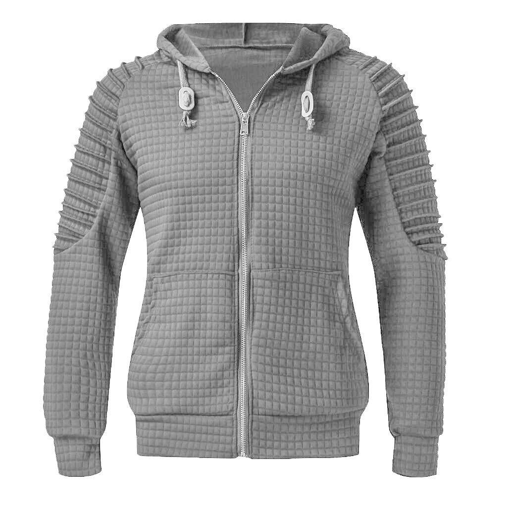 Men's Full Zip Hooded Sweatshirts | Men Casual Hoodied Tops Pleated Raglan Long Sleeve Blouse | Autumn Active T Shirts