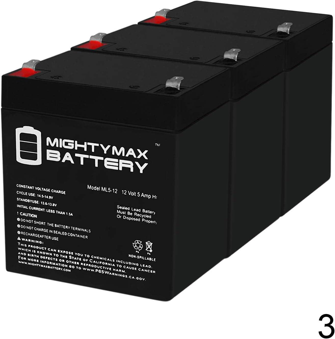 3 Pack Brand Product SUA2200RM2U Mighty Max Battery 12V 5Ah Replaces APC Smart-UPS 2200VA USB SER