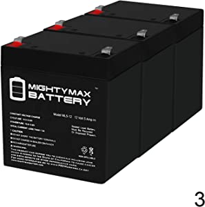 Mighty Max Battery 12V 5Ah for GE Security Alarm CADDX NETWORX NX-4,NX-8,NX-8E - 3 Pack Brand Product