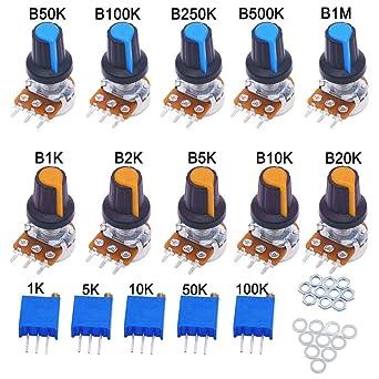 B1K~B1M Ohm R/églable 3 Bornes Rotatif Potentiom/ètre avec Rotatif Bouton Capuchon FULARR/® 10Pcs Premium Lin/éaire Rotatif C/ône Potentiom/ètre Set