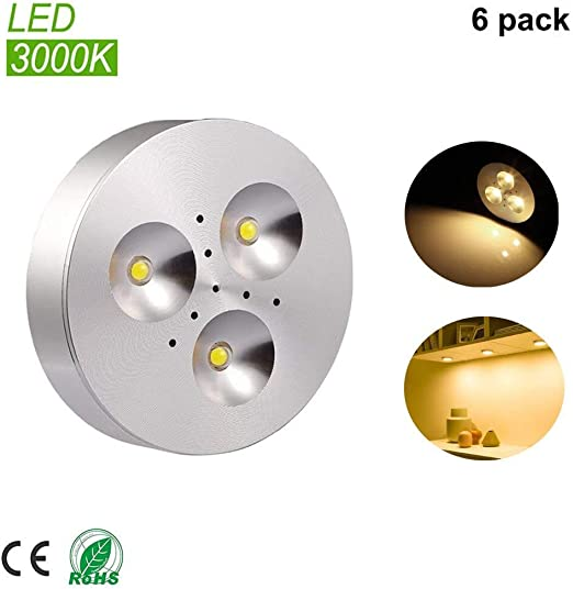 6 Pack LED Puck Lights Kitchen Under Cabinet Lighting Counter Closet Warm White