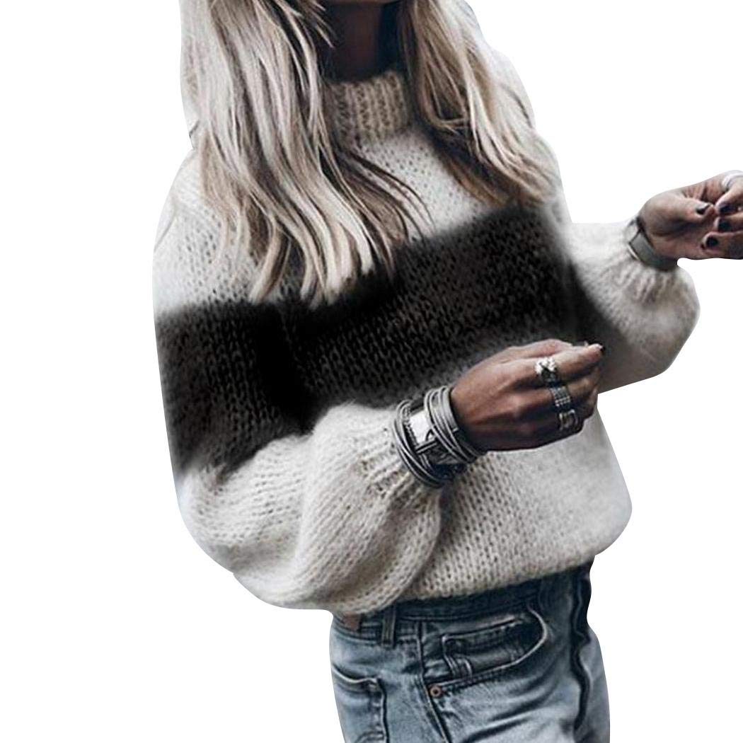 XioNiu Women O Neck Stripe Pullover Sweater Warm Casual Sweater Pullovers Black
