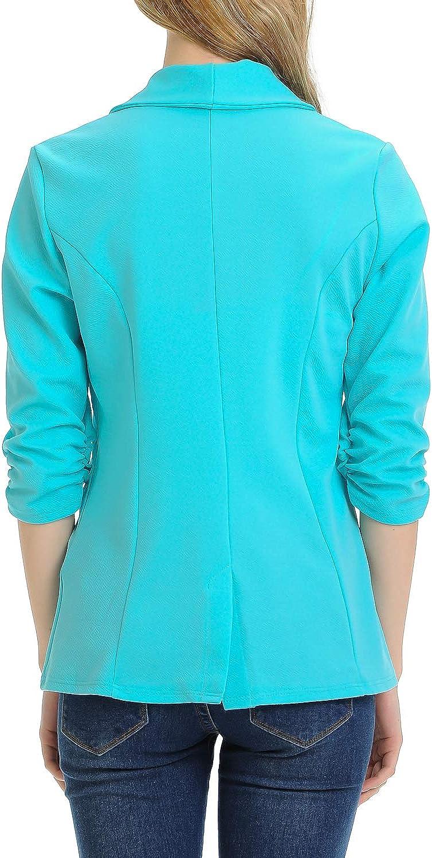 MINEFREE Womens 3//4 Ruched Sleeve Lightweight Work Office Blazer Jacket S-3XL
