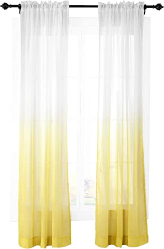 ChadMade Outdoor Indoor Gradient Ombre Sheer Curtain Rod Pocket