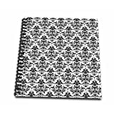 3dRose db_219121_1 Black and White Victorian Damask Wallpaper Pattern Drawing Book, 8 by 8