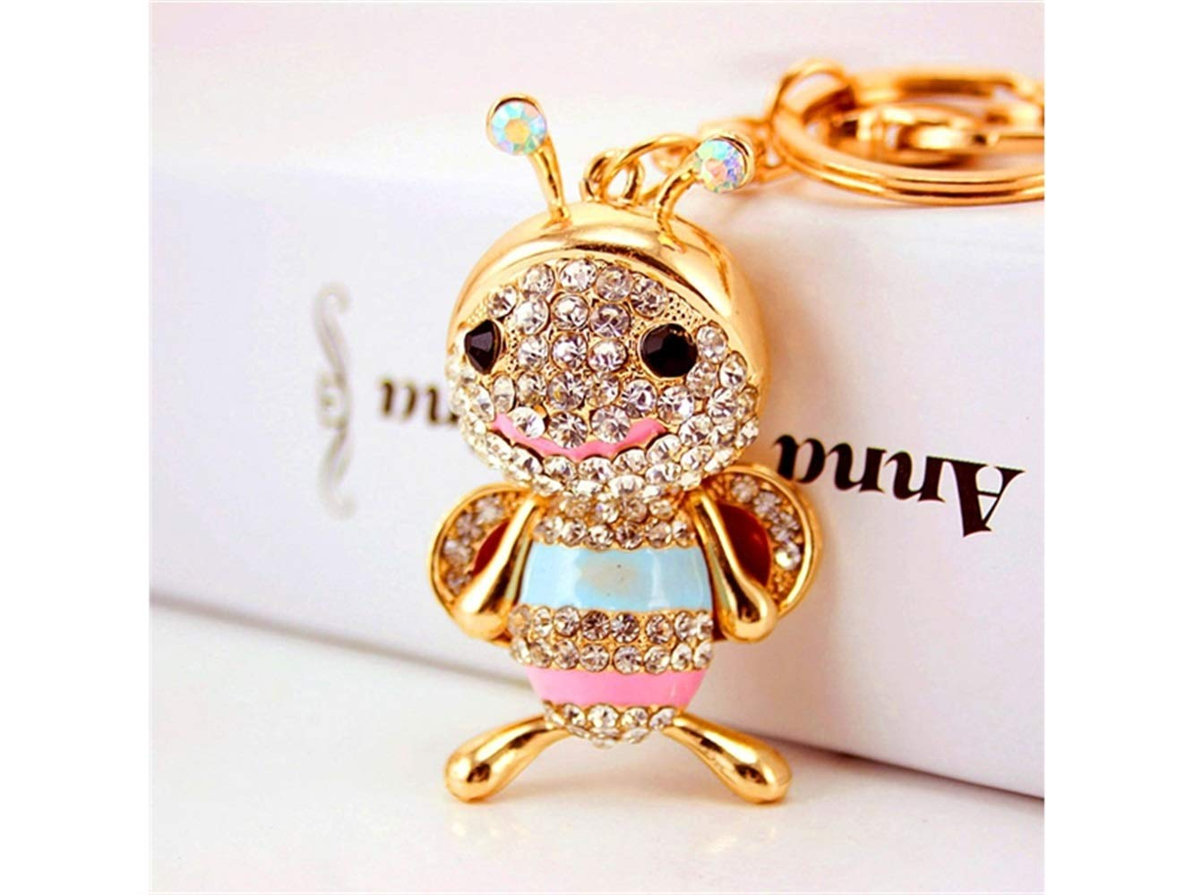 Car Keychain, Exquisite Cute Little Bee Keychain Animal Key Trinket Car Bag Key Holder Decorations(Colorful) for Gift