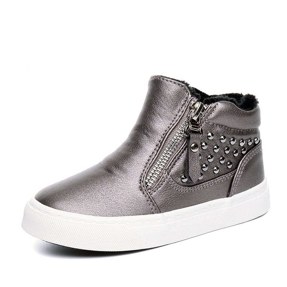 U-MAC Boys & Girls Sneakers Side Zipper Casual Shoes Warm Thick Lined (Toddler/Little Kid/Big Kid)