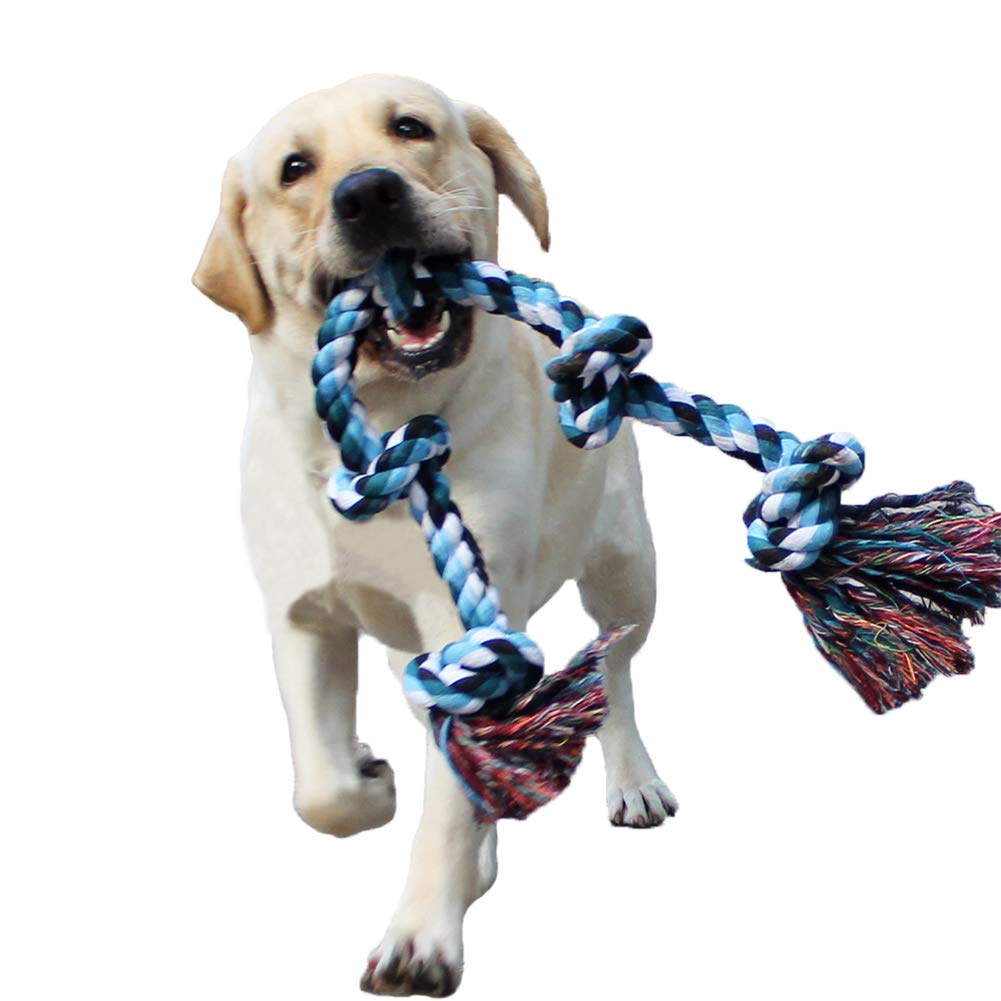 LECHONG Dog Rope Toys for Aggressive Chewers Tough Rope Chew Toys for Large and Medium Dog 3 Feet 5 Knots Indestructible Cotton Rope for Large Breed Dog Tug of War Dog Toy Teeth Cleaning