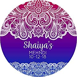 hiusan Indian Mehndi Blue Violet Personalized Sticker Lables Christmas Address Labels Envelop Seals Party Favor Tags Lable