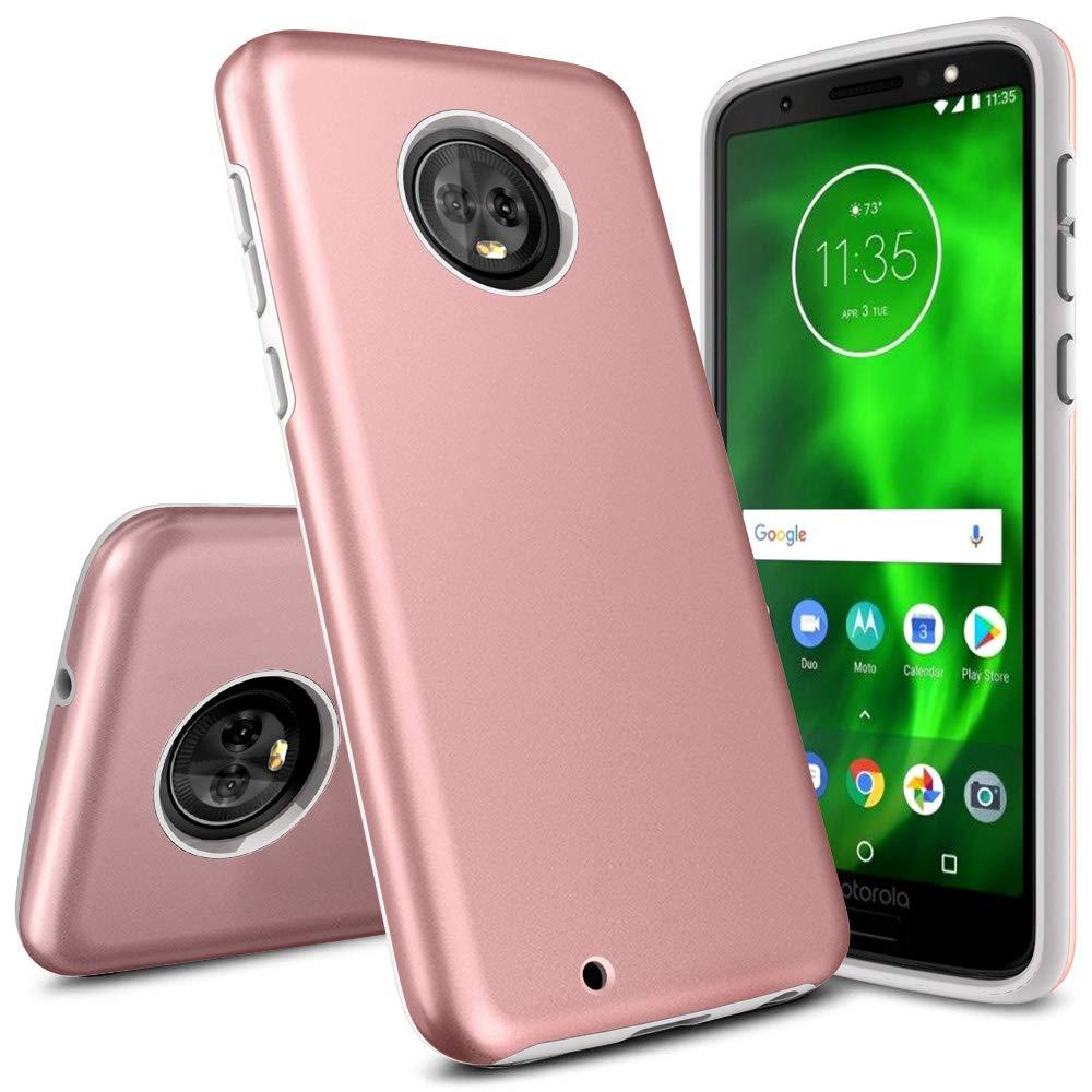Moto G6 Case, Androgate [Pearl Series] Hybrid Matte Protective Back Cover Bumper Case Motorola Moto G 6th Generation (2018), Pink Gold